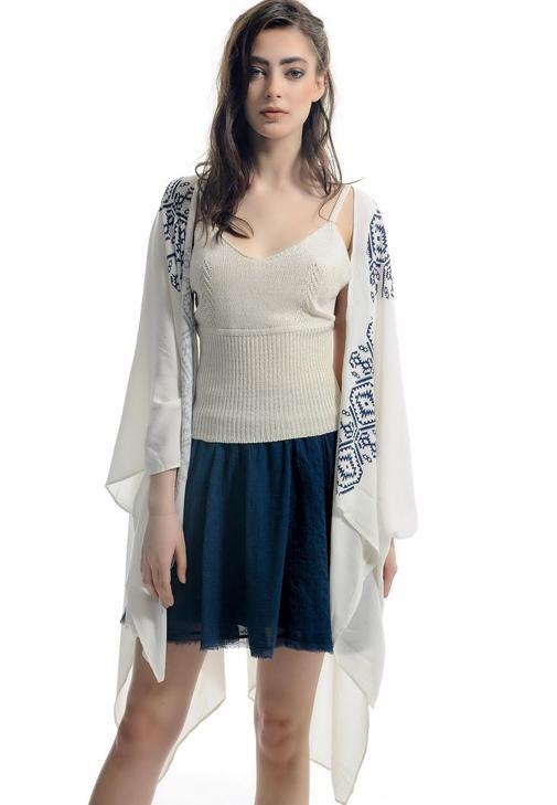 Yakası Desenli İnce Kimono 15YOX-VISKIMOBAS