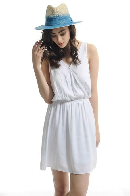 V Yaka Mini Elbise 15YOX-VISKRUBISE