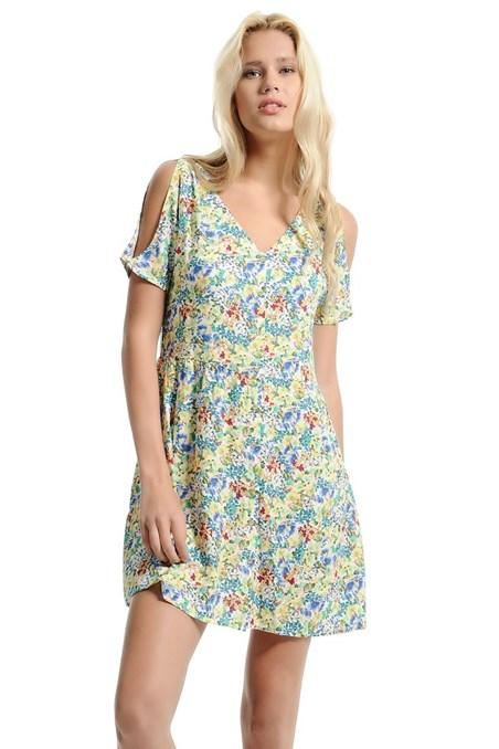Omzu Pencere Detaylı Çiçek Desenli Elbise 15YOX-VISPATEL