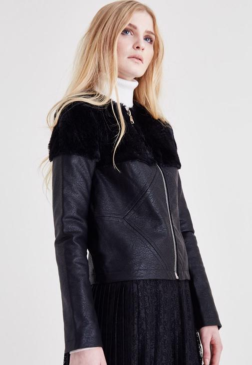 Leather Jacket With Fur Detail