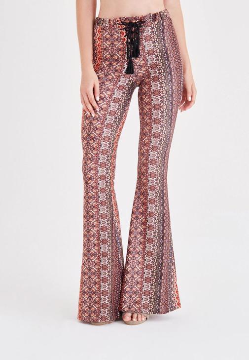 Printed Flare Leg Pants