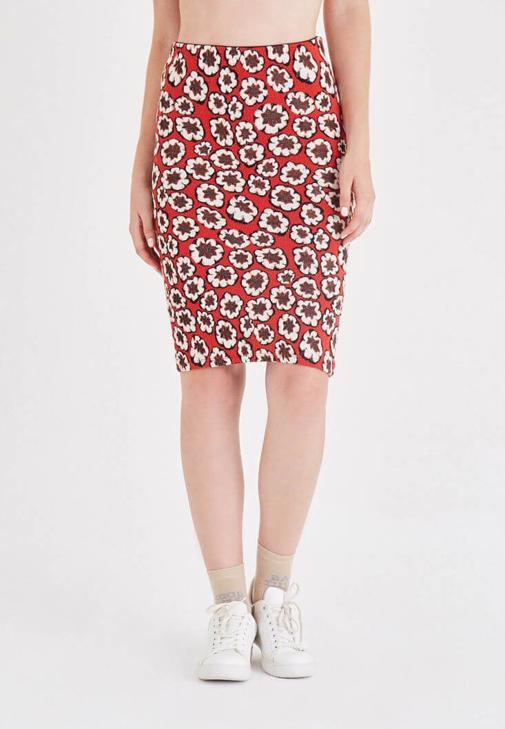 Flower Patterned Pencil Skirt