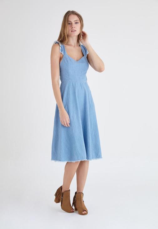 Mavi Fırfır Detaylı Midi Boy Denim Elbise