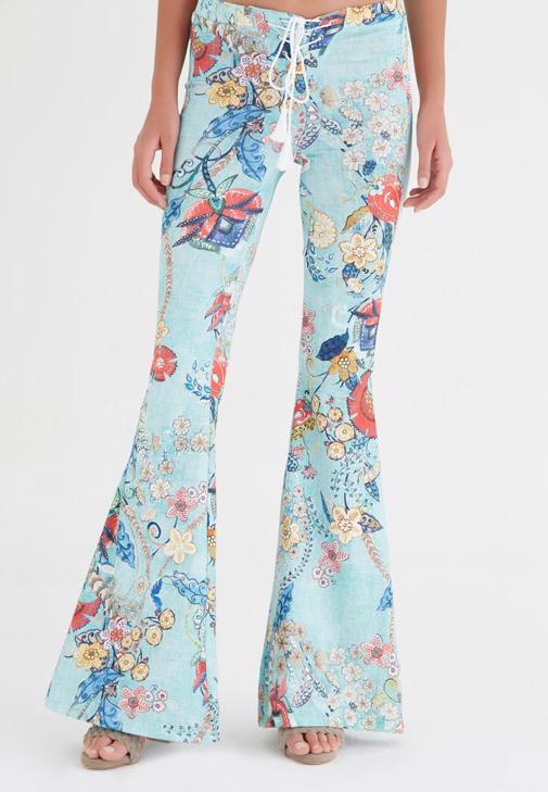 Flare Leg Pants With Printed Detail