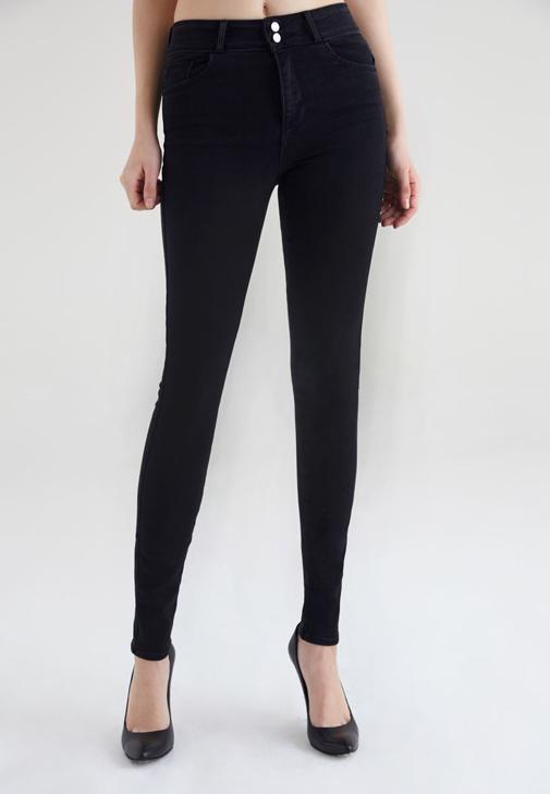 Siyah Yüksek Bel Esnek Skinny Jean