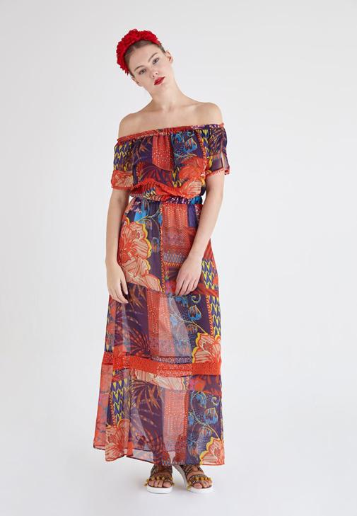 Flower Printed Chiffon Dress