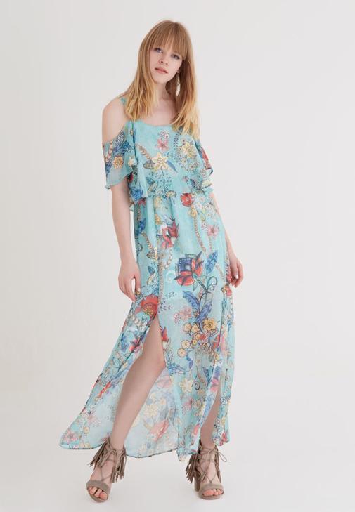 Chiffon Long Dress With Printed Dress