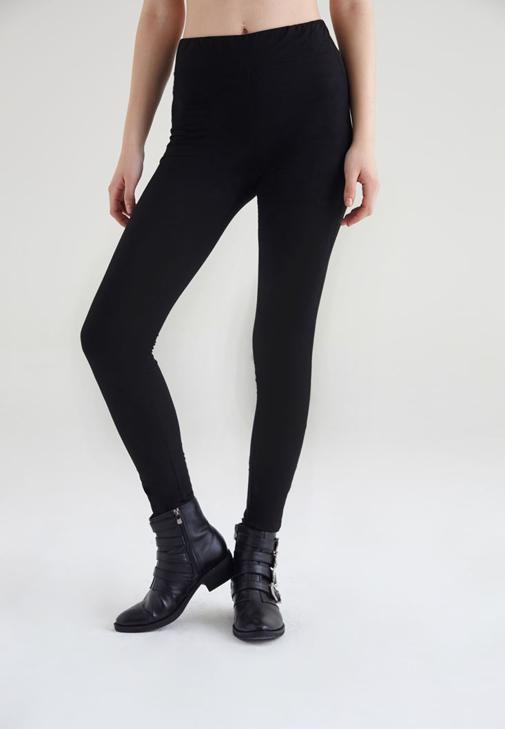 Siyah Süet Görünümlü Tayt Pantolon