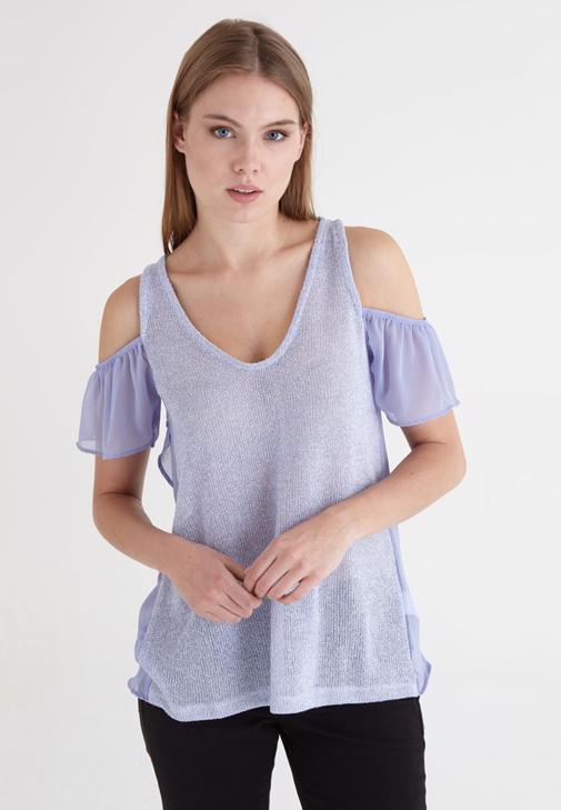Mor Kol Detaylı Bluz