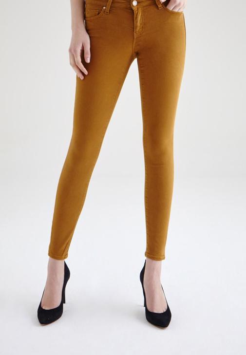 Sarı Düşük Bel Dar Paça Pantolon