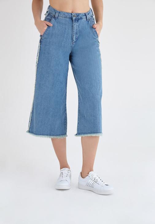 Mavi Yüksek Bel Bol Paça Kısa Denim Pantolon