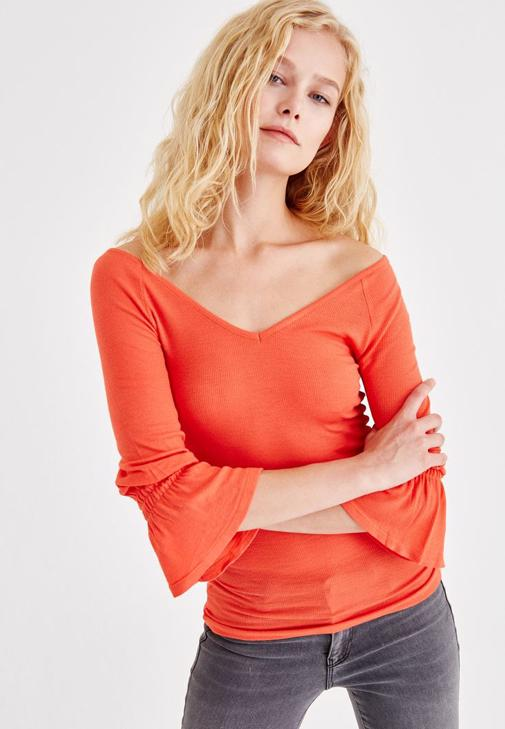 Blouse With Ruffle Arms