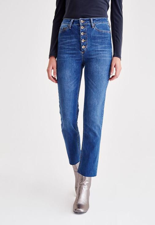 High Rise Jeans With Buttons