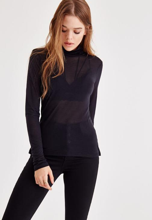 Turtleneck Blouse With Long Sleeve