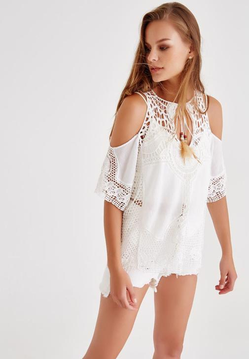 Shoulder Off Blouse With Lacing Detailed