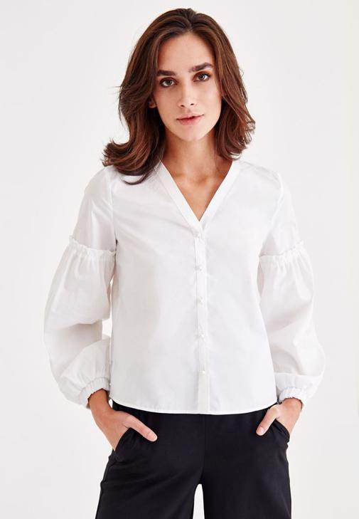 Shirt With Arm Details and Pearl Buttons