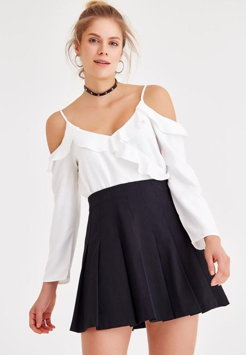 Shoulder Off Blouse With Ruffle Detailed
