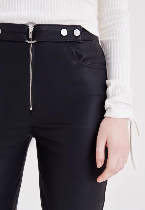 Deri Pantolon ve Kaban Kombini