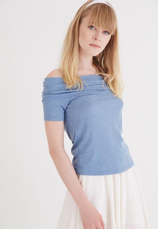 Mavi Bot Yaka Bluz Kombini