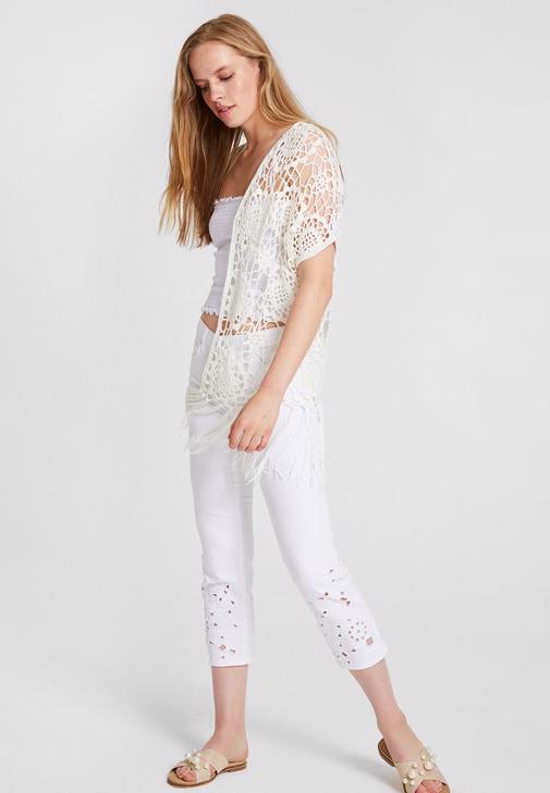 Dantel Kimono ve Paça Detaylı Pantolon Kombini