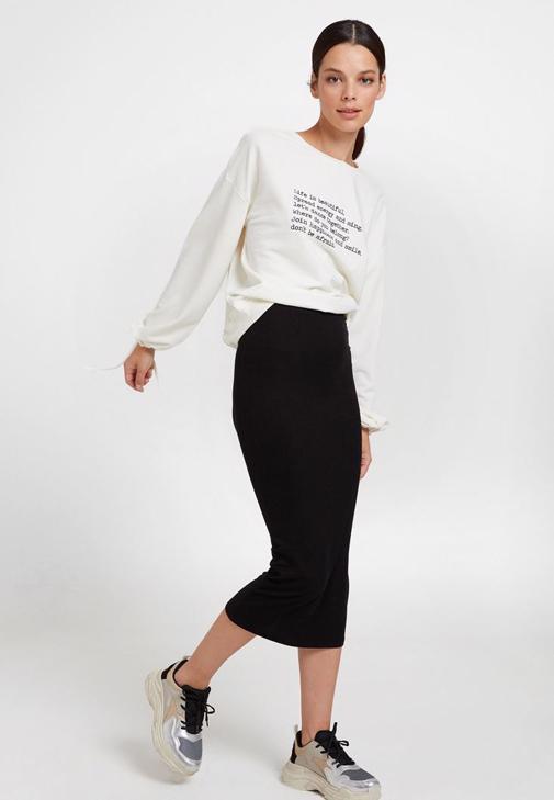 Uzun Kollu  Sweatshirt ve Uzun Etek Kombini