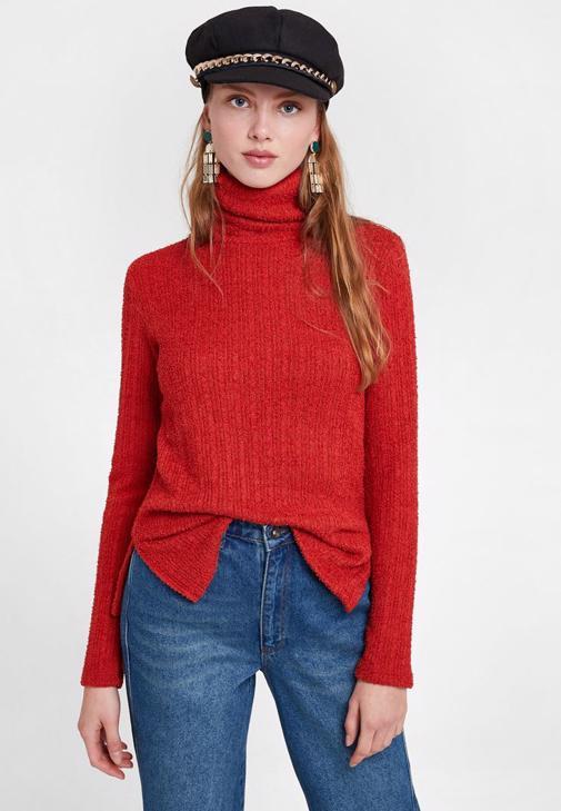 Kırmızı Kazak Pantolon ve Kürk Kombini