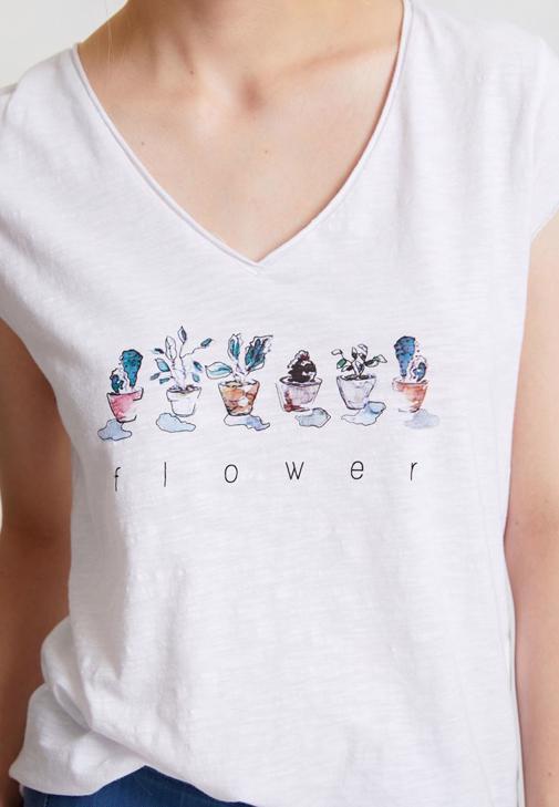 Çiçek Baskılı Tişört ve Denim Görünümlü Tayt Kombini