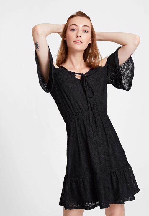 Omuz Detaylı Mini Siyah Elbise Kombini
