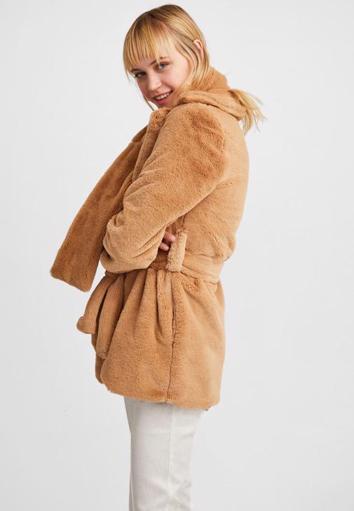 Kahverengi Bağlamalı Kürk Ceket Kombini