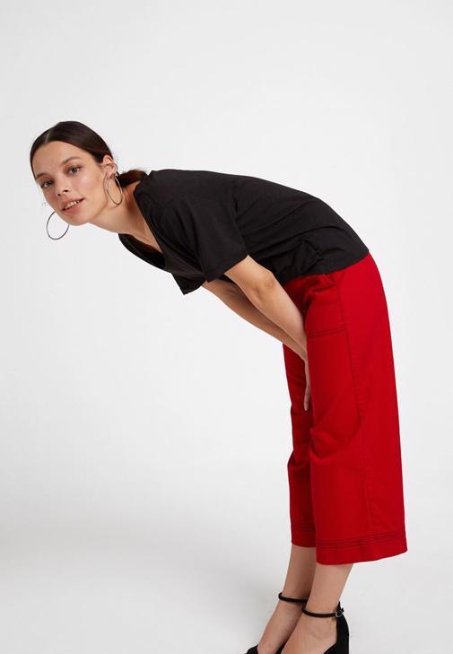 Basic Modal Karışımlı Tişört ve Bol Pantolon Kombini
