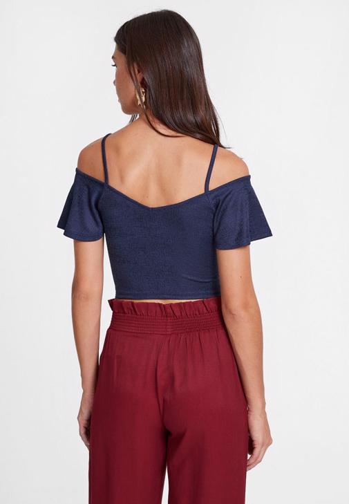 Lacivert Bluz ve Bordo Pantolon Kombini