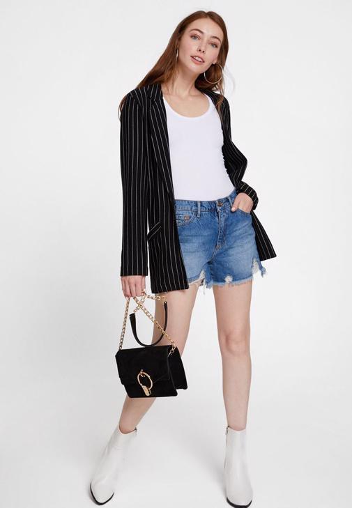 Siyah Flare Pantolon ve Ceket Kombini