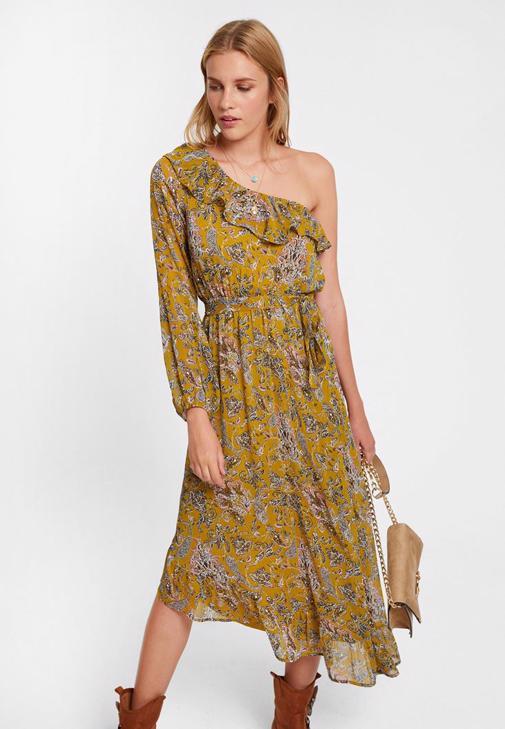 Tek Omuzlu Desenli Uzun Elbise Kombini