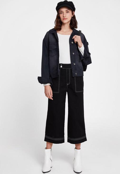 Siyah Pantolon ve Siyah Denim Ceket Kombini
