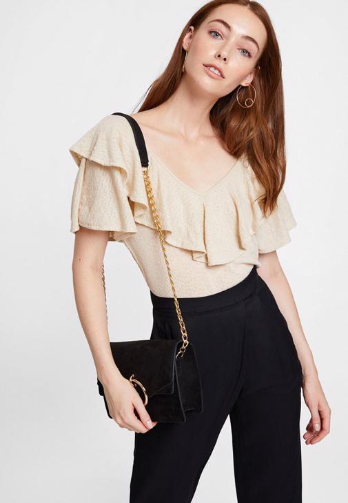 Fırfırlı Bluz ve Lastik Detaylı Pantolon Kombini