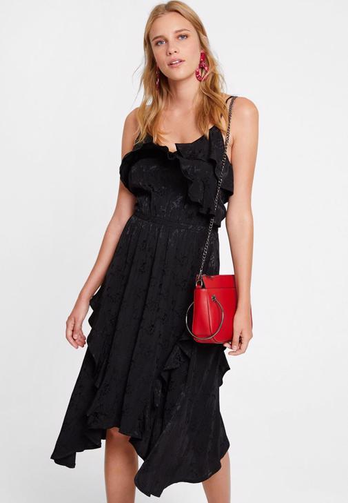 Siyah Fırfırlı Elbise Kombini