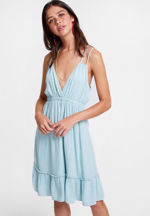 Mavi  Çift Askılı Elbise Kombini