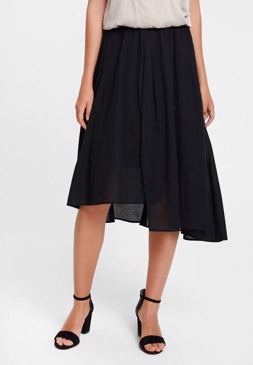 Kolları Fırfır Detaylı Siyah Bluz ve Asimetrik Etek Kombini
