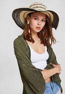 Şerit Detaylı Hasır Şapka