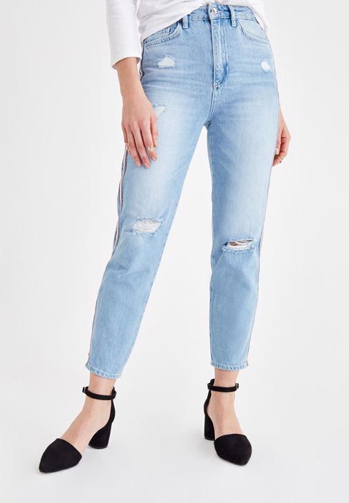 Şerit Detaylı Jean ve Ceket Kombini
