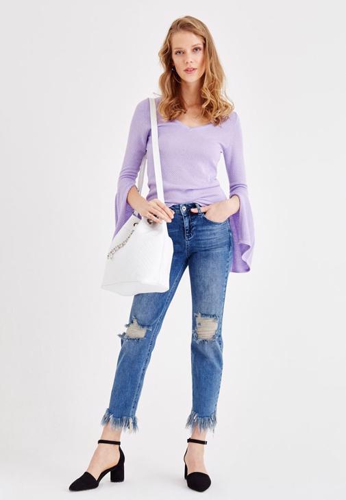 Püskül Detaylı Jean ve Ceket Kombini