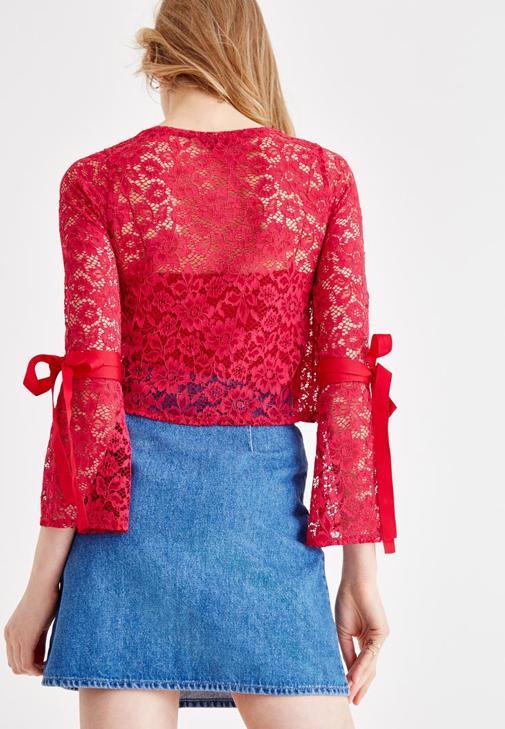 Fermuar Detaylı Etek ve Dantel Bluz Kombini