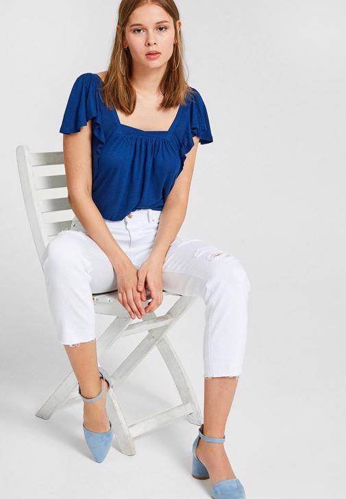 Beyaz Pantolon ve Lacivert Bluz Kombini