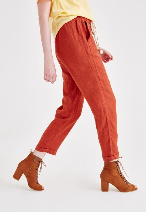 Keten Cep Detaylı Pantolon ve Bluz Kombini