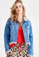 Yakası Yırtık Detaylı Jean Ceket