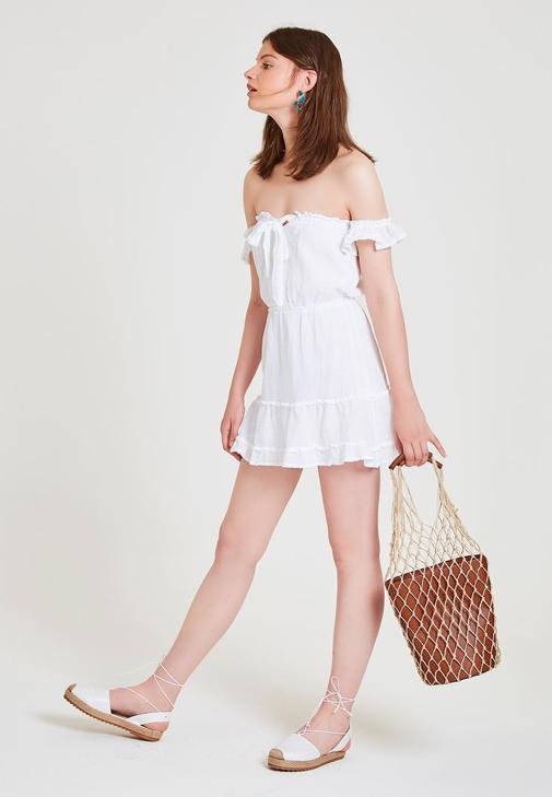 Beyaz Elbise Kombini