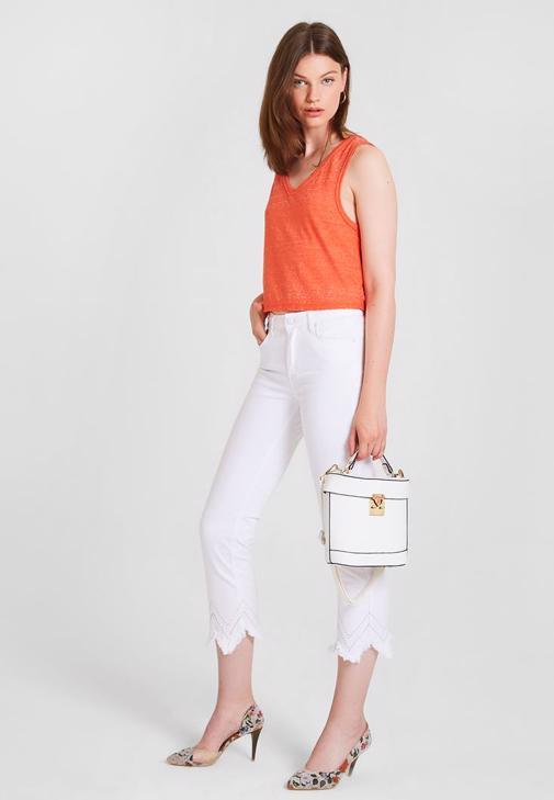 Yüksek Bel Pantolon ve Askılı Bluz Kombini