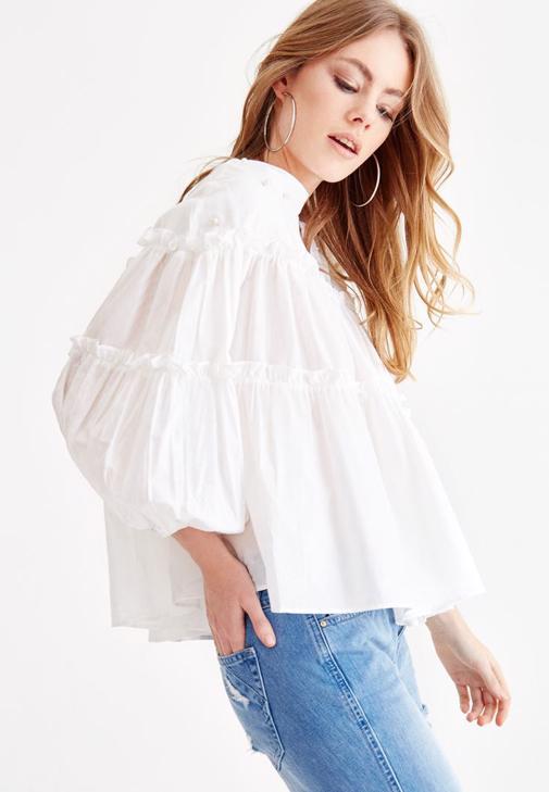 Beyaz Uzun Kollu Bluz ve Jean Kombini