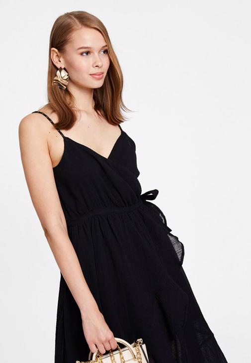 Siyah Kruvaze Elbise Kombini