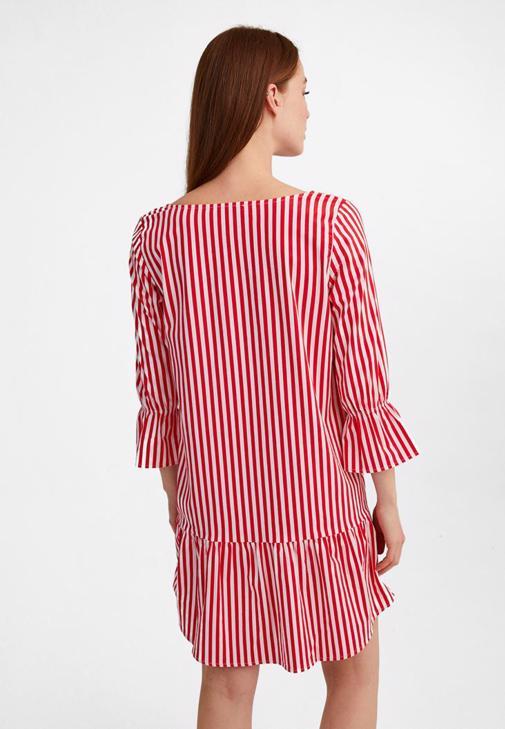 Çizgili Uzun Kollu Elbise ve Kemer Kombini